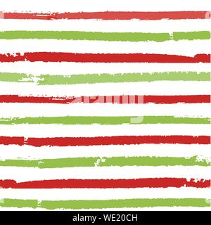 Christmas striped background. Seamless vector pattern with brush painted lines. For fashion print, wallpaper, wrapping paper, packaging, card design - Stock Photo