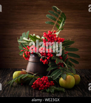 Painting. Still life with vase, flowers, fruit, rowan on wood background. It can be used to create packages, gift cards and design. - Stock Photo
