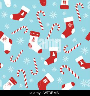 Christmas vector seamless blue pattern with candy canes, christmas socks and snowflakes. Background for wrapping paper, fabric print, greeting cards d - Stock Photo