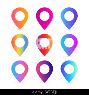 set of colorful location pin illustration vector - Stock Photo