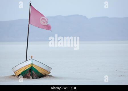 Flag On Boat At Chott El Djerid - Stock Photo