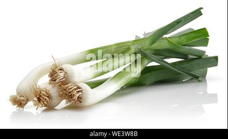 Fresh green garlic isolated on white background - Stock Photo