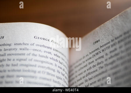 Bangkok, Thailand - August 19, 2019 : Inside of '1984' novel by George Orwell. - Stock Photo