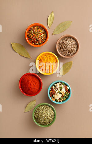 Directly Above Shot Of Spices In Bowl On Table - Stock Photo