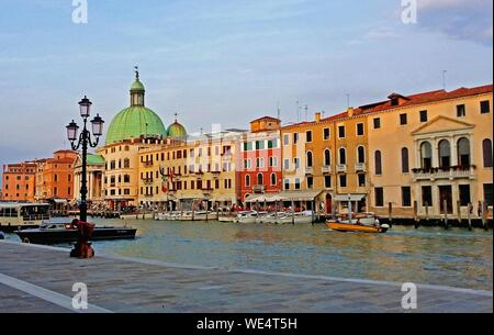 Grand Canal By San Simeone Piccolo In City Against Sky - Stock Photo