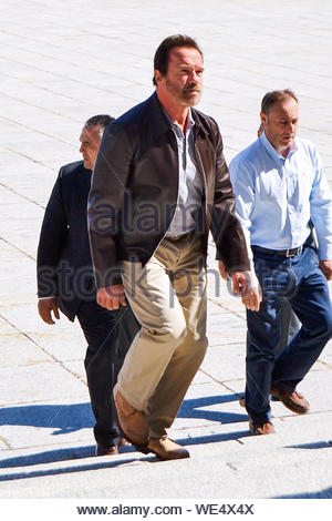 Madrid, Spain - The former governor of California and Austrian-born actor Arnold Schwarzenegger visits the complex of Valley of the Fallen, built by the dictator Francisco Franco. The actor wandered for over an hour in the basilica esplanade located on the outskirts of Madrid where Franco is buried beside the founder of the Falange, José Antonio Primo de Rivera, and more than 38,000 victims of the Civil War and was 'pleasantly surprised by the grandeur of the monument.' AKM-GSI October 11, 2013 - Stock Photo