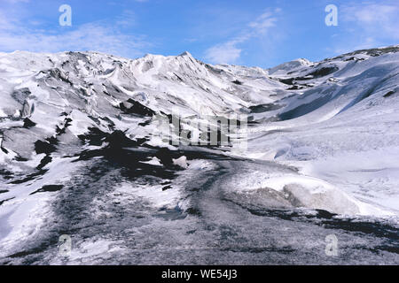 Scenic View Of Snow Covered Mountains Against Sky - Stock Photo