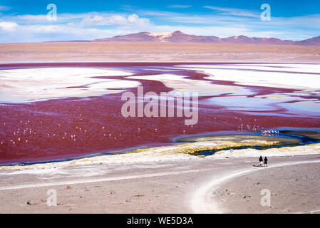 Scenic View Of Laguna Colorada Lake Against Sky - Stock Photo
