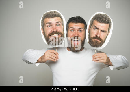 Man with long beard and mustache. - Stock Photo