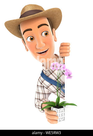 3d farmer behind left wall and holding orchid, illustration with isolated white background - Stock Photo