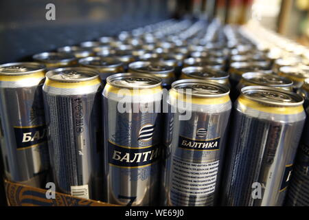 Moscow, Russia. 29th Aug, 2019. MOSCOW, RUSSIA - AUGUST 29, 2019: Beer for sale at a Pyaterochka grocery store. Artyom Geodakyan/TASS Credit: ITAR-TASS News Agency/Alamy Live News - Stock Photo