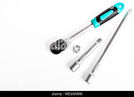 Repair Experts. socket wrench. perfect tool kit. Chrome Vanadium Steel. metallized fix equipment. socket wrench isolated on white background. copy space. - Stock Photo