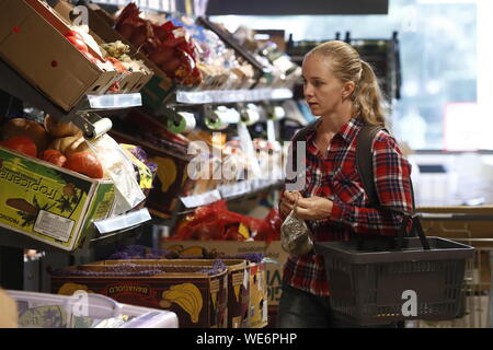 Moscow, Russia. 29th Aug, 2019. MOSCOW, RUSSIA - AUGUST 29, 2019: A customer at a Pyaterochka grocery store. Artyom Geodakyan/TASS Credit: ITAR-TASS News Agency/Alamy Live News - Stock Photo