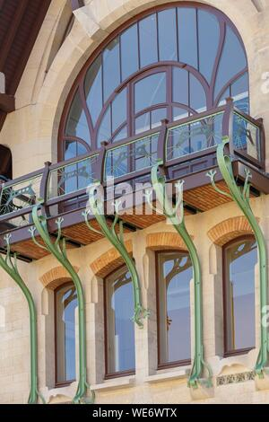 France, Meurthe et Moselle, Nancy, Villa Majorelle, house of Louis Majorelle today a museum, detail of the facade - Stock Photo
