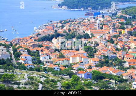Mali Losinj, panoramic view, Adriatic sea, Croatia - Stock Photo