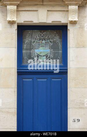 France, Meurthe et Moselle, Nancy, door and stained glass window in Art Nouveau style - Stock Photo