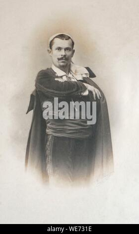 France, Lot, Prudhomat, the castle of Castelnau Bretenoux, portrait of Jean Moulierat, famous tenor singer. He did most of his career at the Opera Comic in Paris - Stock Photo