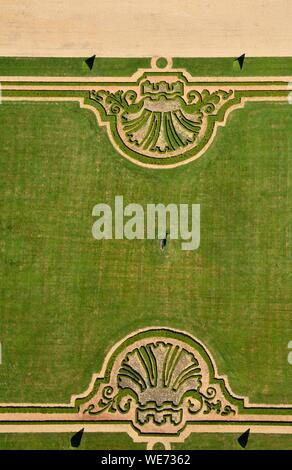 France, Seine et Marne, Maincy, the gardens of Vaux le Vicomte (aerial view) - Stock Photo