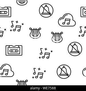 Music, Audio Vector Seamless Pattern - Stock Photo