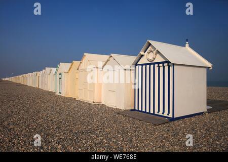 France, Somme, Cayeux sur Mer, Beach huts Cayeux sur Mer - Stock Photo