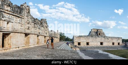 Mexico, Yucatan state, Uxmal, listed as World Heritage by UNESCO, the Nunnery quadrangle - Stock Photo