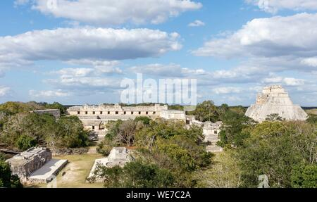 Mexico, Yucatan state, Uxmal, listed as World Heritage by UNESCO, archaeological site - Stock Photo