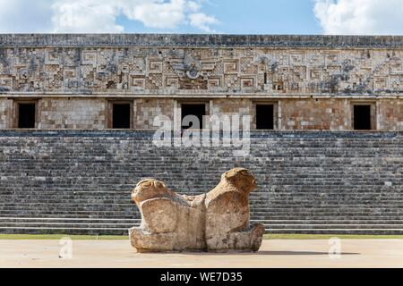 Mexico, Yucatan state, Uxmal, listed as World Heritage by UNESCO, the governor's palace - Stock Photo