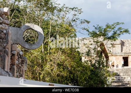 Mexico, Yucatan state, Uxmal, listed as World Heritage by UNESCO, ballcourt - Stock Photo
