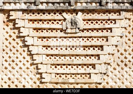 Mexico, Yucatan state, Uxmal, listed as World Heritage by UNESCO, the Nunnery quadrangle, symbolic motifs - Stock Photo