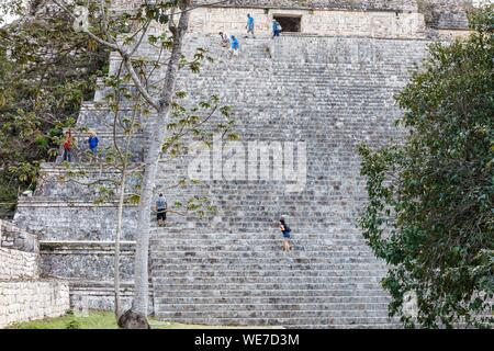 Mexico, Yucatan state, Uxmal, listed as World Heritage by UNESCO, Grand pyramid stairs - Stock Photo