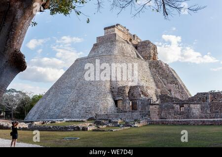 Mexico, Yucatan state, Uxmal, listed as World Heritage by UNESCO, pyramid of the Soothsayer - Stock Photo