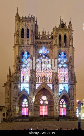 France, Somme, Amiens, Notre-Dame cathedral, jewel of the Gothic art, listed as World Heritage by UNESCO, sound and light show - Stock Photo