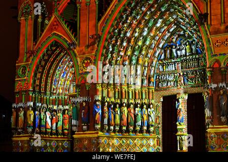 France, Somme, Amiens, Notre-Dame cathedral, jewel of the Gothic art, listed as World Heritage by UNESCO, polychrome sound and light show presenting the original polychromy of the facades - Stock Photo
