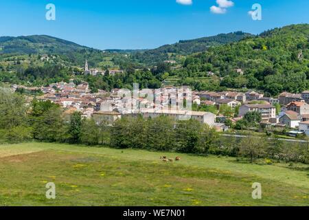 France, Ardeche, Parc Naturel Regional des Monts d'Ardeche (Monts d'Ardeche Regional Natural Park), Lamastre town, Vivarais, Sucs area - Stock Photo
