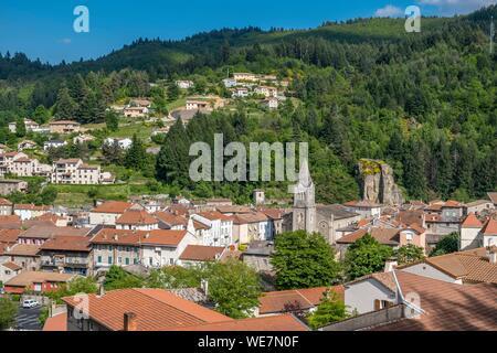 France, Ardeche, Parc Naturel Regional des Monts d'Ardeche (Monts d'Ardeche Regional Natural Park), Le Cheylard, Vivarais, Sucs area - Stock Photo