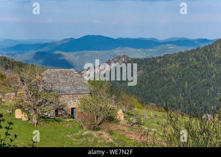 France, Ardeche, Parc Naturel Regional des Monts d'Ardeche (Monts d'Ardeche Regional Natural Park), , Vivarais, Sucs area - Stock Photo