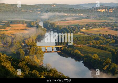 France, Dordogne, Domme, panorama over the Dordogne river (aerial view) - Stock Photo