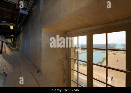 France, Yvelines, Chateau de Versailles, listed as World Heritage by UNESCO, the large perspective seen from the attic above the Galerie des Glaces (Hall of Mirrors) - Stock Photo