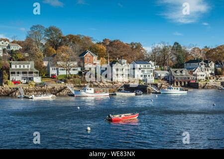 United States, New England, Massachusetts, Cape Ann, Gloucester, Annisquam Harbor, autumn - Stock Photo