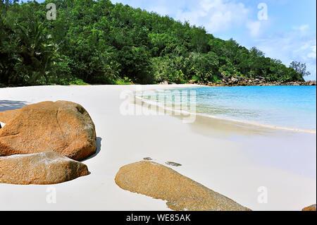 Anse Georgette, Beach on Island Praslin, Seychelles - Stock Photo