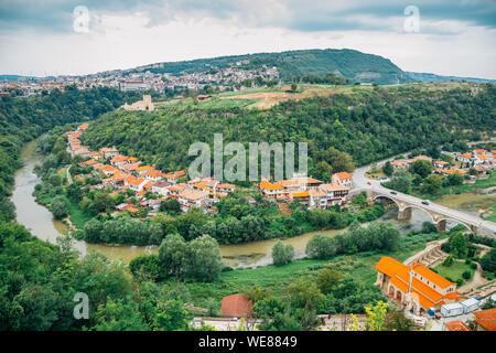 Old town and Yantra river in Veliko Tarnovo, Bulgaria - Stock Photo