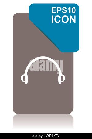 Headphones black and blue vector pointer icon on white background in eps 10 - Stock Photo