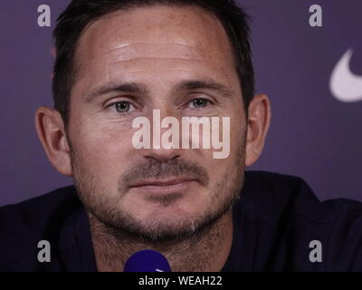 Cobham, Surrey, UK. , . Frank Lampard, Chelsea Football Club Manager addresses the media about Chelsea's Premier League match against Sheffield United FC at Stamford Bridge on Saturday. 31st. August, 2019 Credit: Motofoto/Alamy Live News - Stock Photo