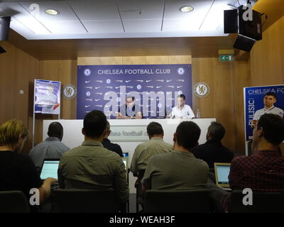 Cobham, UK. 30th Aug, 2019. Cobham, Surrey, UK., . Frank Lampard, Chelsea Football Club Manager addresses the media about Chelsea's Premier League match against Sheffield United FC at Stamford Bridge on Saturday. 31st. August, 2019 Credit: Motofoto/Alamy Live News - Stock Photo
