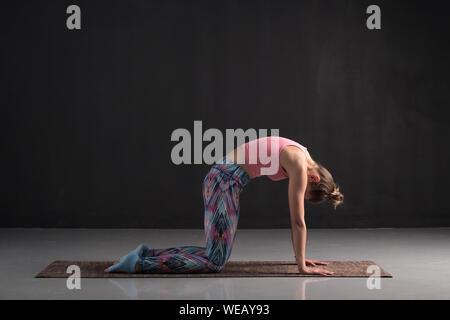 Caucasian woman making simple yoga asana cow or cat position. Therapeutic position. Studio shot - Stock Photo