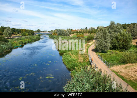 The River Lea in London Olympic Park, Stratford, East London, looking towards the Northern Parklands - Stock Photo