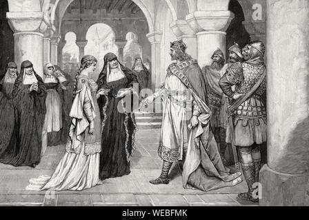 Henry the Fowler making a marriage proposal to Saint Matilda at Herford Abbey, 9th century - Stock Photo