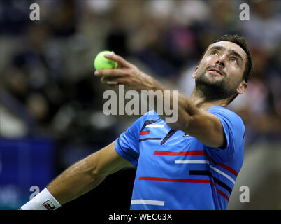New York, United States. 30th Aug, 2019. Marin Cilic of Croatia serves to Cedrik-Marcel Stebe of Germany in the second round match at the 2019 US Open Tennis Championships at the USTA Billie Jean King National Tennis Center on Thursday, August 29, 2019 in New York City. Photo by Monika Graff/UPI Credit: UPI/Alamy Live News - Stock Photo