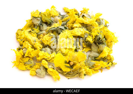 Dried flowers of marsh mallow (Althaea officinalis) on a white background - Stock Photo