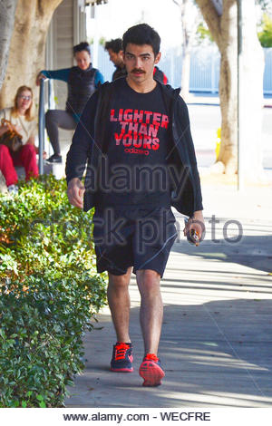 Los Angeles, CA - While Joe Jonas finished another workout session at his L.A. gym, his young brother Nick grabbed a to-go lunch not too far from there, Joe wore a new Adidas t-shirt advertising their new running shoes, black shorts and black and red Nike sneakers while his brother look a little more formal wearing a plaid shirt, black trousers and black leather boots. AKM-GSI December 10, 2013 - Stock Photo